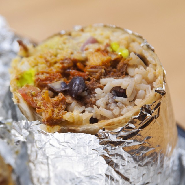 A delicious close up of the Ultimate Mexican Burrito!